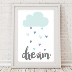 Dream rain cloud hearts pastel print