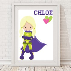 Girls' superhero name print