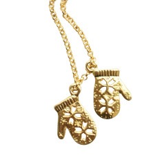 Mittens necklace (silver or gold)