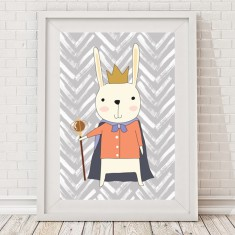 Royal bunny king print