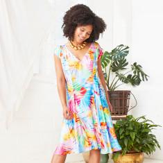 Ana drop waist loose fit cap sleeve a-line dress in multi leaf print