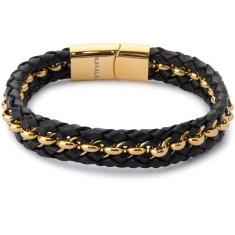 Double leather & steel weave bracelet (black & gold)