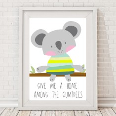 Koala home among the gumtrees print