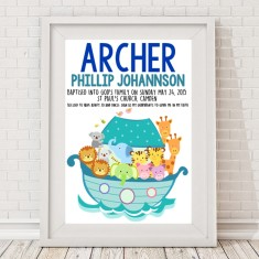 Noah's ark boy or girl christening or baptism print