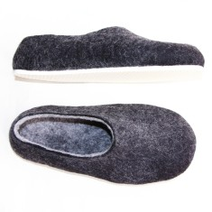 Women's felt slippers in charcoal black (various sole colours)