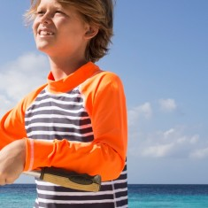 Classic long sleeve rashie for boys in Surfing Dogs Rush