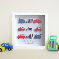 Personalised mixed transport birth announcement artwork