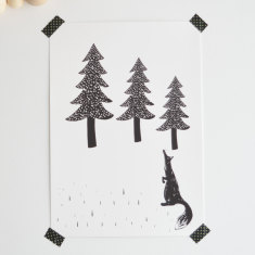 Fox woodland Scandinavian inspired wall art print