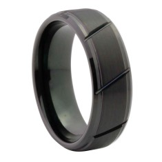 Personalised & Custom Black Jagged Tungsten Ring