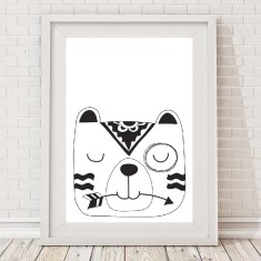 Monochrome sleepy bear tribal print