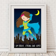 Brave strong and super girls superhero print
