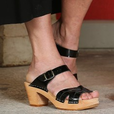 High sandals in black patent
