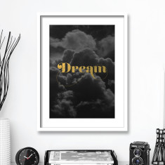 Dream Gold Foil Typography Art Print