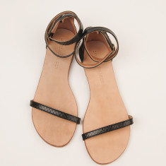 Capri black snakeskin sandals