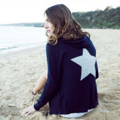 Cashmere Hoodie In Navy with Grey Star