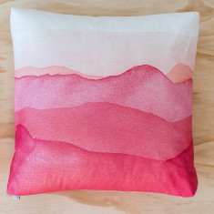 Pink mountains watercolour cushion
