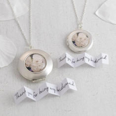 Personalised White Roses Locket Necklace
