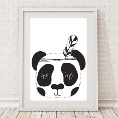 Monochrome tribal panda print