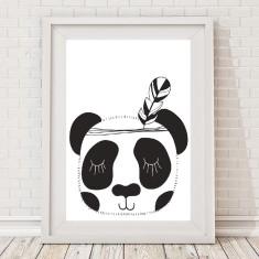 Monochrome tribal panda print