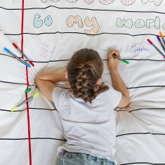 Doodle doona cover with wash-out pens