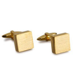 Brushed Slate Cufflinks - Gold