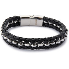 Double leather & steel weave bracelet (black & silver)