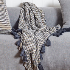 Alpha Textured Knit Tassels Throw in Charcoal