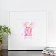 Chanel Perfume Bottle watercolour print in Sweet pink