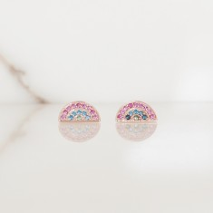Rainbow stud earrings 18k rose gold vermeil