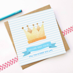Personalised crown new baby card