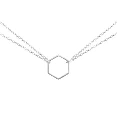 Double Chain Hexagon Pendant - Silver
