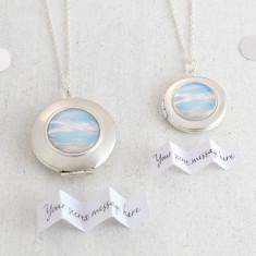 Personalised Blue Sky Locket Necklace