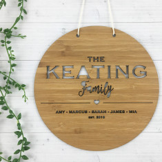 Personalised Family Wall Hanging - Round