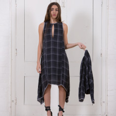 Haley Dress in Ink Check