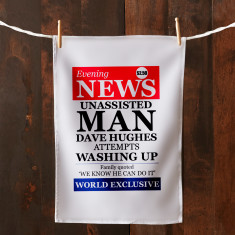 Personalised unassisted man tea towel