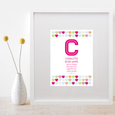 Personalised love heart girls name & birth details art print