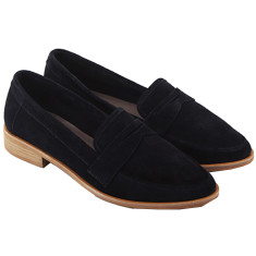 Penny French Suede Loafer in Navy