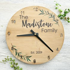 Personalised family bamboo clock