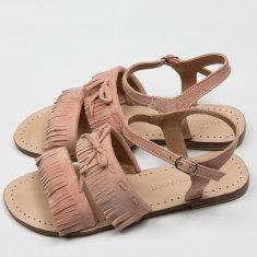 Baja fringe sandals in coral