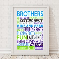 Brothers personalised typographic print
