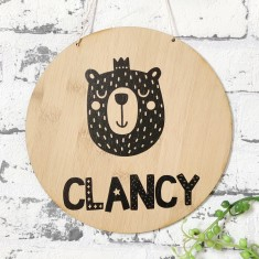 Personalised monochrome king bear bamboo wood wall hanging