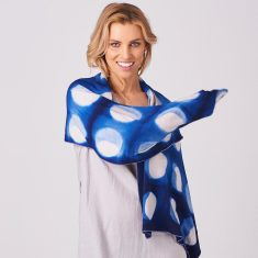 Limited Edition Merino Scarf - Shibori Moonphase in Inky Blue/Blush