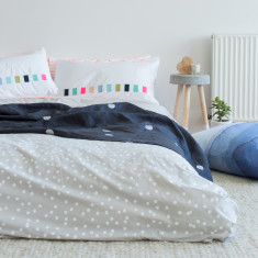 White sprinkle on grey organic cotton doona