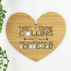 Heart wedding personalised bamboo wall hanging
