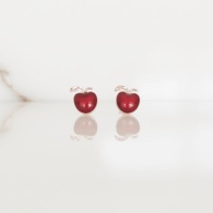 Apple studs red enamel &18k rose gold vermeil