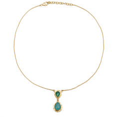 Aqua Calci and Green Onyx Necklace