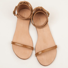 Capri tan snakeskin sandals