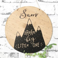 Personalised monochrome dream big bamboo wall hanging