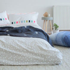 White sprinkle sprinkle on grey organic cotton bed linen