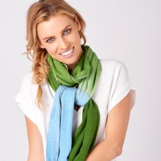 Limited Edition Merino Scarf - Dip Dyed Sky Blue/Tree Green
